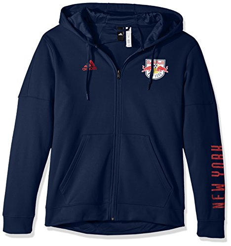 adidas MLS New York Red Bulls Adult Men Armed Team Issue Full Zip Hood, Large, Collegiate Navy - Red Team Issue T-shirt