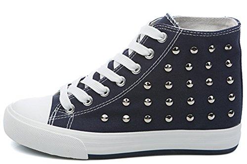 Idifu Womens Punk Clouté Haut Top Chaussures De Tennis Caché Plimsolls Lace Bleu