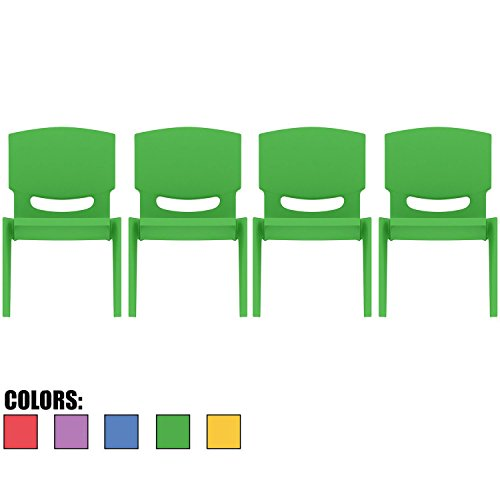 2xhome - Set of Four (4) - Green - Kids Size Plastic Side Chair 12'' Seat Height Green Childs Chair Childrens Room School Chairs No Arm Arms Armless Molded Plastic Seat Stackable by 2xhome