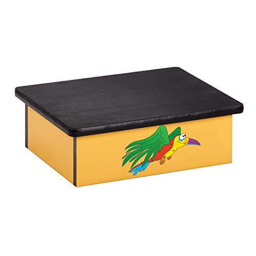 Pediatric Equipment - 20'' x 16'' x 7'' Rainforest Parrot Laminate Pediatric Step Stool - CL-10-R by Miller Supply Inc
