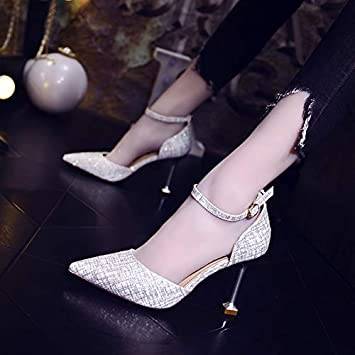 GTVERNH Womens Shoes//Mingyuan One-Word Button Plaid Lady 8Cm High-Heeled Shoes Pointed Thin-Heeled Shallow Mouth Womens Single Shoes Autumn Cats Heels