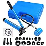 Professional 9 Ton 6 Dies Punches Interchangeable Hydraulic Hole Knockout Punch Set Driver Hand Tool Kit w/ Carrying Case Blue for Appliance Installing Repairing Electronics Industry