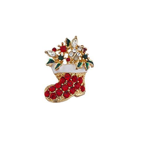 Lux Accessories Holiday Christmas Xmas Crystal Rhinestone Stocking Brooch Pin