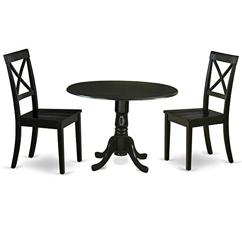 DLBO3-BLK-W 3Pc Round 42 Inch Dining Table With Two 9-Inch Drop Leaves And A Pair Of Wood Seat Dining Chairs (Set Piece Dining Nine Room)