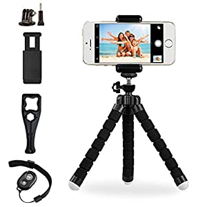 Phone Tripod Stand,Adjustable Tripod Holder for iPhone Android Web Camera Gopro Action Camera GoPro,Camera Mount with Universal Clip and Remote Shutter Release