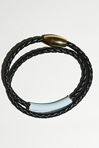(Woven Black Leather Bracelet, 8