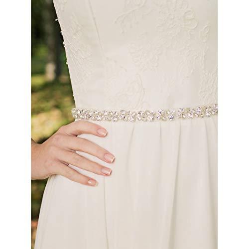 SWEETV Bridal Belt with Rhinestones Wedding Dress Belt Crystal Headband Bride Bridesmaids Sash, Silver