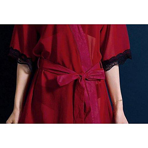 HXQ Camisones verano encaje albornoces pijamas de las mujeres , red Red