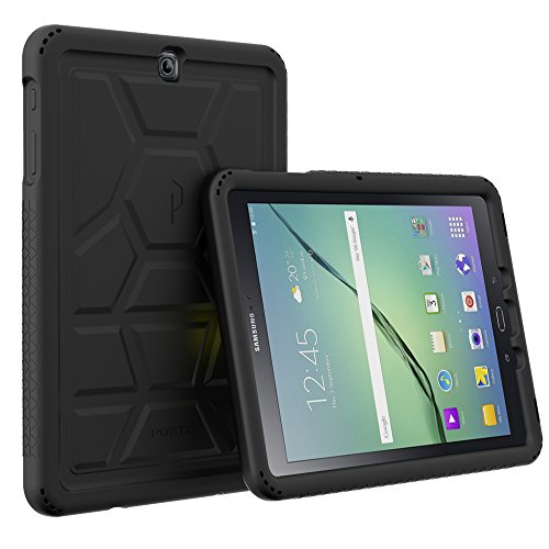 Galaxy Tab S2 9.7 Case - Poetic [Turtle Skin Series]-[Corner/Bumper Protection][Tactile Side Grip][Sound-Amplification][Bottom Air Vents] Protective Silicone Case for Samsung Galaxy Tab S2 9.7 Black