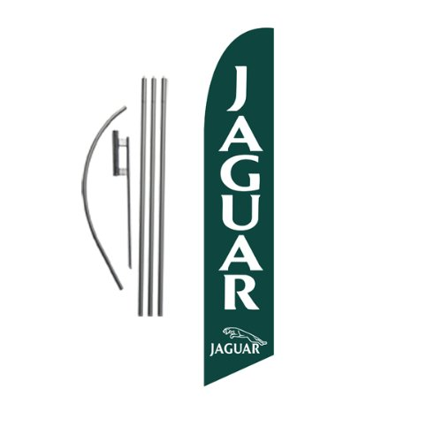 Jaguar Dealership Advertising Feather Banner Swooper Flag Sign with Flag Pole Kit and Ground Stake