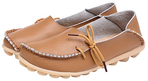 WENN FÜHLEN Frauen Flats Leder Driving Loafer Schuhe Hellbraun-2
