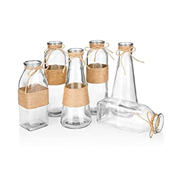Glass Vases In Differing Unique Shapes Creative Rope Design - Set of 6