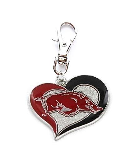 Heavens Jewelry University of Arkansas Charm Razorbacks Team Heart Charm ADD to Zipper Pull PET Dog CAT Collar TAG Leash ETC ()