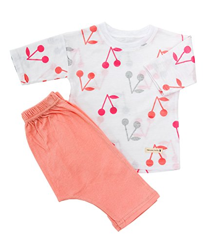 Lintto Shinning Cherry Girls 2 Piece 3/4 Sleeves Pajama Set Cotton 100% Kids PJS Sleepwear (120(4T-5T)) ()