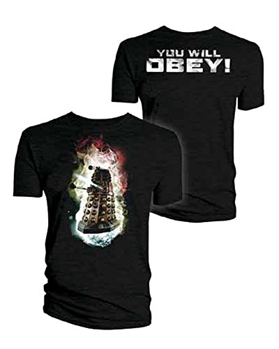 Doctor Who: Dalek You Will Obey! Front and Back Print T-Shirt (Small) Black ()