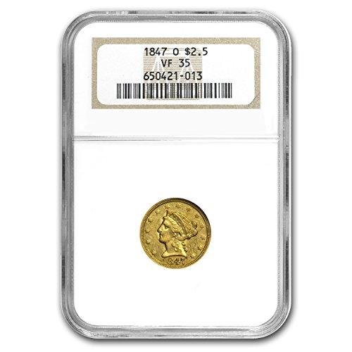 1847 O $2.50 Liberty Gold Quarter Eagle VF-35 NGC $2.50 VF-35 NGC