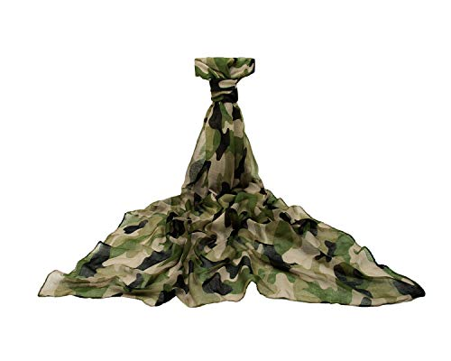 Classic Stylish Camouflage Scarf Cool Smooth Breathable Female (Dark Green)
