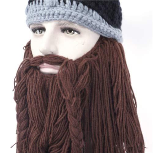 Viking Knit Ski Hat-Beanie-Ski Mask (Brown)