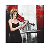 Wowdecor Wall Art Modern Canvas Prints Painting - Girl Play The Violin Giclee Pictures Printed on Canvas, Wall Decor for Home Living Room Bedroom - DIY Frame (Large)