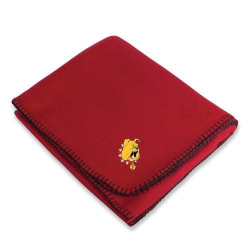 (CollegeFanGear Ferris State Red Arctic Fleece Blanket 'Bulldog Head')