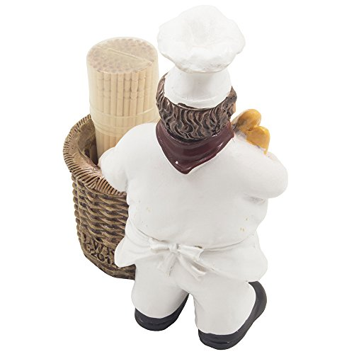 French Chef Pierre Decorative Toothpick Holder Figurine With Faux Wicker Basket Display Stand