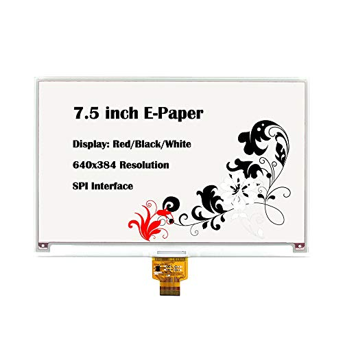 CQRobot 7.5 inch E-Paper Bare Screen Display in Red/Black/White, DIY Open Source Electronic E-Ink Display, 640×384 Resolution, SPI Interface, Smart Watch, Shelf Label, Portable Device Displays.