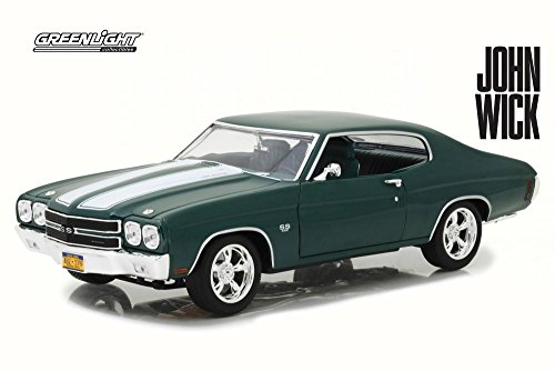 1970 Chevy Cars (Greenlight 1970 Chevy John Wick Chevelle SS 396, John Wick 13505-1/18 Scale Diecast Model Toy Car)