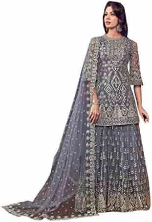 d6421bc1fd Grey Indian Muslim Designer Evening Cocktail Heavy work Net Short Kurti Sharara  Suit Women Party wear