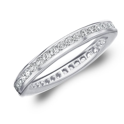 .50 CTTW Diamond Eternity Ring in 10K White Gold, Channel Set Diamond Eternity Wedding Band Anniversary Ring, Size 7