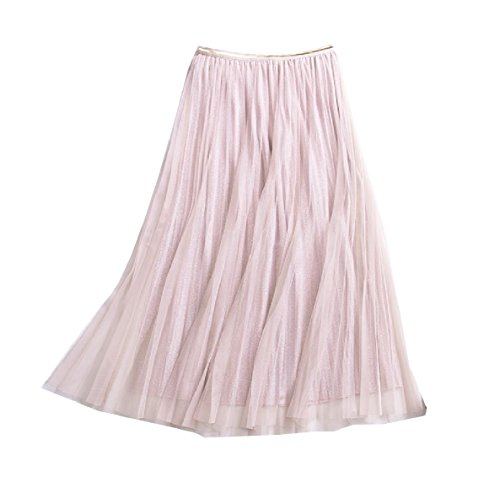 Losait Womens Gauze Stylish Sequin Accordion Pleated Skirt Long Skirt Apricot One-Size