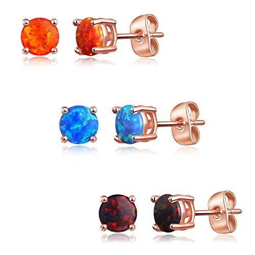 Luckeyui 6mm Round Created Opal Stud Earrings Set for Women,Red/Blue/Black 3 Pairs Rose Gold Plated Ear Studs