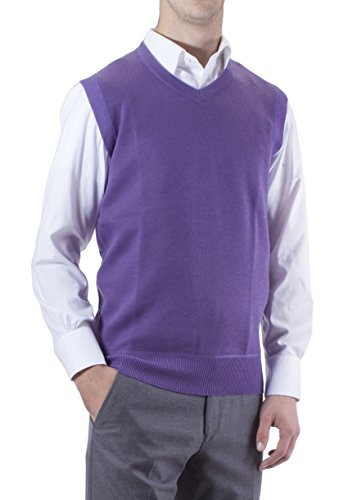 Alberto Cardinali Men's Solid Color V-Neck Sweater Vest SVS1 (XLarge, Lavender)