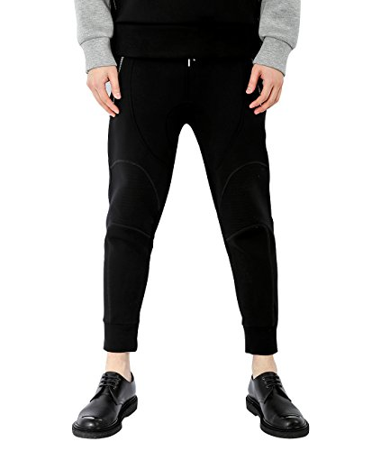 wiberlux-neil-barrett-mens-neoprene-paneled-jogger-pants-m-black