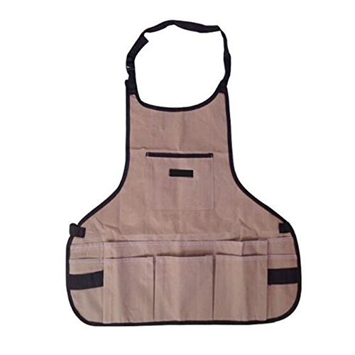 PECC 600D Oxford Cloth Heavy Duty Work Apron, Adjustable and Durable Tool Aprons - Khaki Garden Tool Apron for Men & Women Carpenters Machinists by PECC