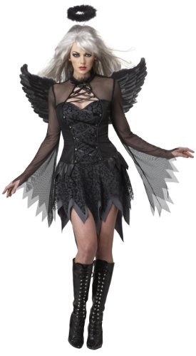 Halloween Customs For Women (California Costumes Fallen Angel Dress, Black, Large Costume)