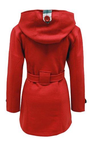 Cexi Couture - Damen Langer Mantel Mit Gürtel Jacke Top - 46, Rot