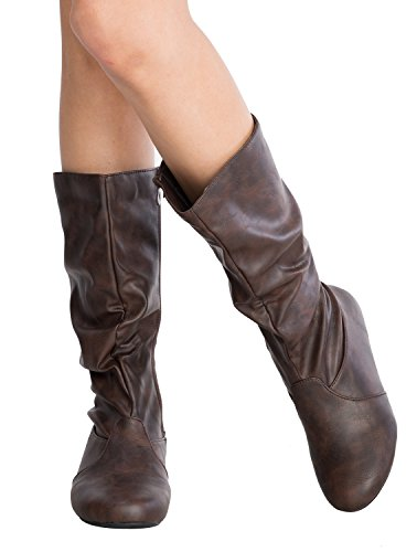 Slouchy Mid Calf Boots (OLIVIA K Womens Low Heel Mid-Calf Slouchy Suede Slip On Casual Boots with Side Zipper)