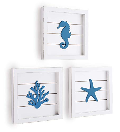 TideAndTales Beach Wall Decor Sea Life Framed Wooden Set with 3D Starfish Seahorse and Coral, Ocean Theme Marine Coastal…