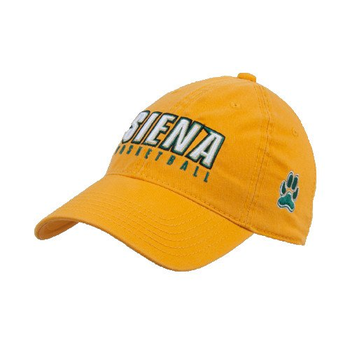 CollegeFanGear Siena Gold Twill Unstructured Low Profile Hat 'Basketball'