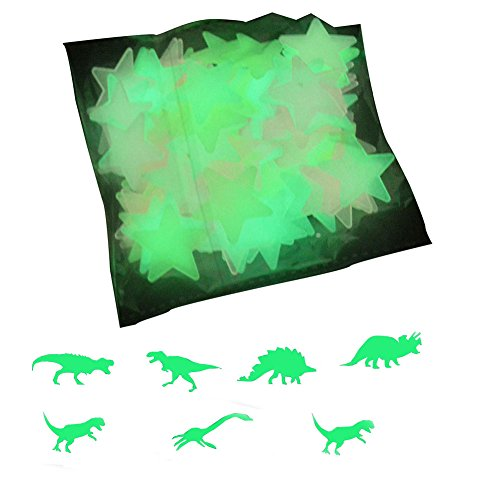 Luminous Wall Stickers Glow in the Dark Wall Decals 100pcs Stars and 9pcs Dinosaurs,for Kids Rooms Home Decor -