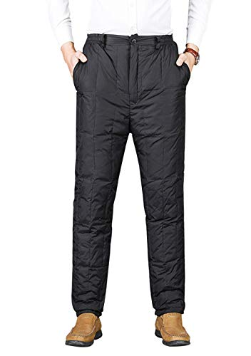 Gihuo Men's Winter High Waist Insulated Down Snow Pants Ski Trousers (Black, - Insulated Pants Down