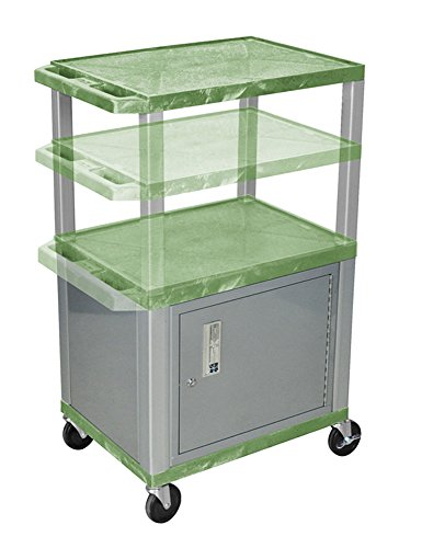 H.Wilson WT2642GC4E-N Adjustable Height 3 Shelves Green Tuffy Cart with Cabinet Nickel Legs