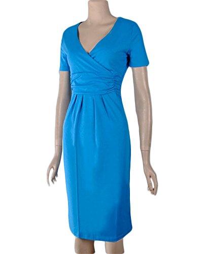 Plisse Manches Robe Col Bleu Ciel en coeur Femme Courtes Moollyfox Fourreau Jersey Robe V Robe Profond Cache OgqEOFw8
