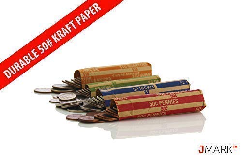 J Mark Neatly-Packed Flat Coin Roll Wrappers (Quarters, Dimes, Nickels, Pennies), ABA Striped Kraft Paper Coin Roll Wrappers, Includes Free J Mark Deposit Slip, (400-Pack USD) by Brand: J Mark (Image #5)