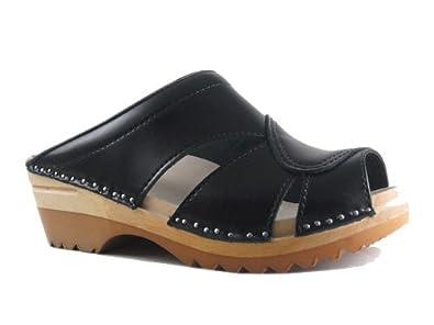 dedb77171b984 Troentorp Women's Båstad Mariah Clog Sandal Black Leather Clogs 38 EU