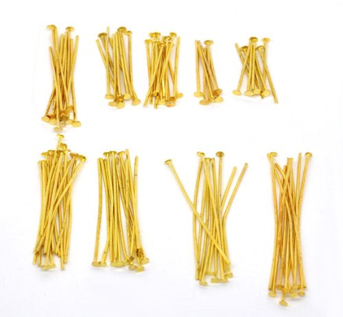 Housweety 900 PCs Mixed Gold Plated Head Pins Findings (Plated Mixed Metal Gold)