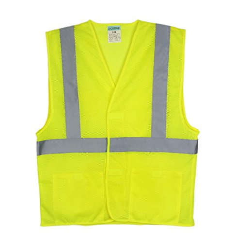 SHORFUNE 1117U High Visibility Reflective Safety Vest with Pockets, Hook and Loop Closure,Breathable Mesh, ANSI/ISEA Standard, S-M