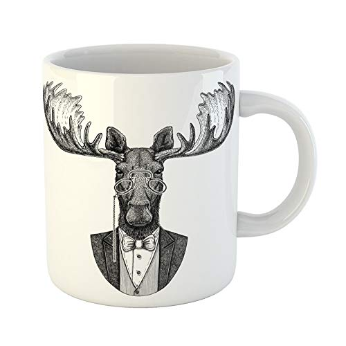 Emvency Coffee Tea Mug Gift 11 Ounces Funny Ceramic Bow Moose Elk Hipster Animal for Tattoo Emblem Badge Patch Tie Gifts For Family Friends Coworkers Boss Mug