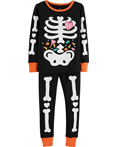 Girls Halloween Pajamas Glow in The Dark 100% Cotton Pjs Toddler Pjs Kids Sleepwear(5T,Skeleton)