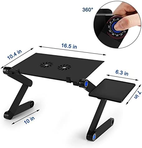 Laptop Table, Adjustable Laptop Bed Table, Laptop Computer Stand, Portable Laptop Workstation Notebook Stand Reading Holder with 2 CPU Cooling Fans and Mouse Pad in Bed Couch Sofa Office